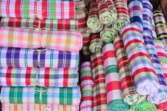 Colorful fabric rolls Stock Photos