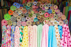 Colorful fabric rolls Royalty Free Stock Image