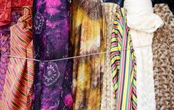 Colorful fabric rolls. Colorful  fabric rolls in the shop , closeup Stock Image