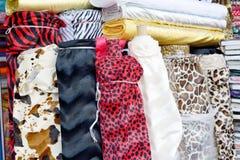 Colorful fabric rolls. Colorful  fabric rolls in the shop , closeup Stock Images