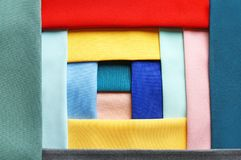 Colorful fabric samples. As background Royalty Free Stock Images