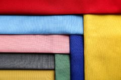 Colorful fabric samples. As background Royalty Free Stock Photo
