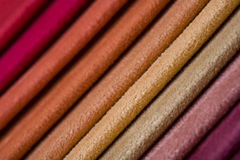 Colorful fabric samples, close-up Royalty Free Stock Images