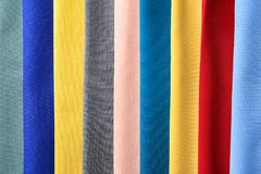 Colorful fabric samples. As background Stock Image