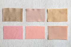Colorful fabric samples. On light background Royalty Free Stock Photography