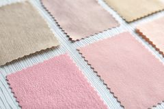 Colorful fabric samples. On light background Royalty Free Stock Image