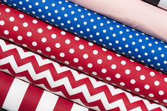 Colorful fabric scarves in stack. As background Stock Photography