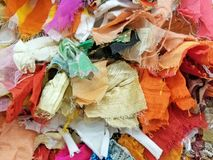 Colorful fabric scrap piece background stock image