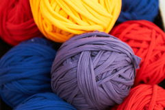Colorful fabric strip balls. Some colorful fabric strips balls Royalty Free Stock Photo