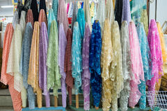 Colorful fabric thai style in fabric market thailand. Stock Photo