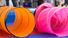 Colorful Fabric. Colorful tunnels fabric at playground Stock Photo
