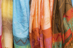 Colorful Fabrics. Fabrics displayed in different colors royalty free stock photography
