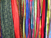 Colorful Fabrics. A view of a variety of colorful fabrics on display in India Stock Image