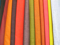 Colorful Fabrics 2. Some colorful shades of cotton fabrics stock photos