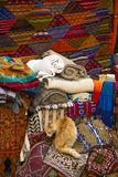 Colorful fabrics on the Agadir market in Morocco Royalty Free Stock Image