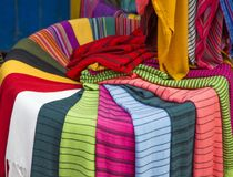 Colorful fabrics on the Agadir market in Morocco Stock Photo