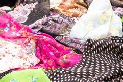 Colorful fabrics background Stock Photos