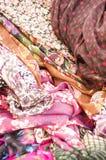 Colorful fabrics background Stock Photo