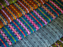 Colorful fabrics and carpets stock image