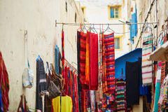 Colorful fabrics and carpets for sale in Morocco Stock Photography