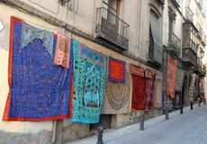 Colorful fabrics hanging in Granada in Spain Royalty Free Stock Image