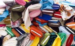 Colorful fabrics on market Royalty Free Stock Photos