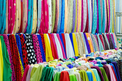 Colorful fabrics at the market Stock Photos