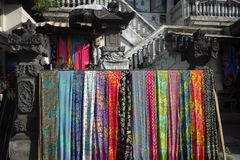 Colorful fabrics in a market. Colors displayed in a market in Bali Stock Photography