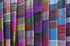 Colorful fabrics on a market in Morocco Royalty Free Stock Photo
