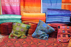 Colorful fabrics in Morocco Stock Images