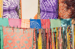Colorful fabrics in Morocco Royalty Free Stock Photo