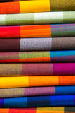 Colorful Fabrics at Otavalo market in Ecuador. Stock Photography
