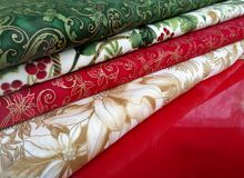 Colorful fabrics for patchwork. In diagonal stock photography