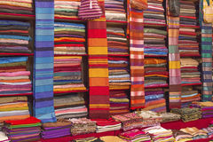 Colorful fabrics for sale on a market in Morocco Royalty Free Stock Image