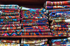 Colorful fabrics on sale in a shop Muttrah Souk, in Muttrah, Muscat, Oman, Middle East Royalty Free Stock Photos