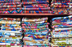 Colorful fabrics on sale in a shop Muttrah Souk, in Muttrah, Muscat, Oman, Middle East Royalty Free Stock Photography