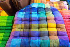 Colorful fabrics sit pillow at street market in thailand Royalty Free Stock Image