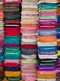 Colorful Fabrics and Textiles in Store Royalty Free Stock Photos