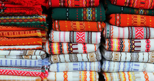 Colorful Fabrics With Traditional Bulgarian Embroidery Royalty Free Stock Photo
