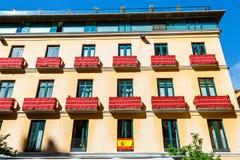 Colorful facade of the building, Malaga, Spain. Colorful facade of the building in the historical center of Malaga, Spain stock photos