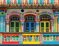 Colorful facade of building in Little India Royalty Free Stock Photos
