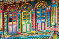 Colorful facade of building in Little India Royalty Free Stock Images