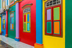 Colorful facade of building in Little India. stock photos