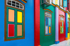 Colorful facade of building in Little India. stock images