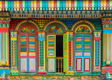 Colorful facade of building in Little India, Singapore.  royalty free stock image