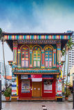 Colorful facade of building in Little India, Singapore. Singapore city, Singapore - August 8, 2015: Colorful facade of building in Little India, Singapore stock photos