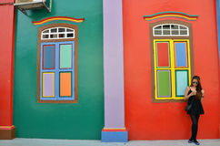 Colorful facade of building in Little India, Singapore. SINGAPORE - NOV 07, 2015: Colorful facade of building in Little India, Singapore stock photography