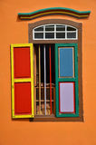 Colorful facade of building in Little India, Singapore. Colorful windows and details on a colonial house in Little India, Singapore stock photo