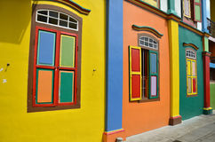 Colorful facade of building in Little India, Singapore. Colorful windows and details on a colonial house in Little India, Singapore stock photos