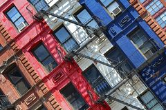 Colorful facade of building Stock Images